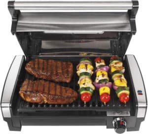 Meat and vegetable skewers on Hamilton Beach 25361 Indoor Grill