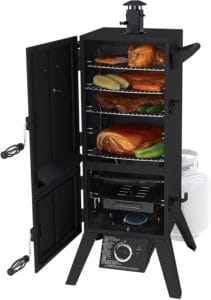 Chicken, corn, saussages, meat being smoked in a Dyna-Glo propane smoker