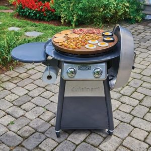 Eggs, bacon, and potatoes being grilled on a Cuisinart 2-burner gas grill