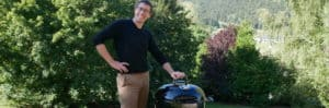 Benoit next to his new charcoal grill