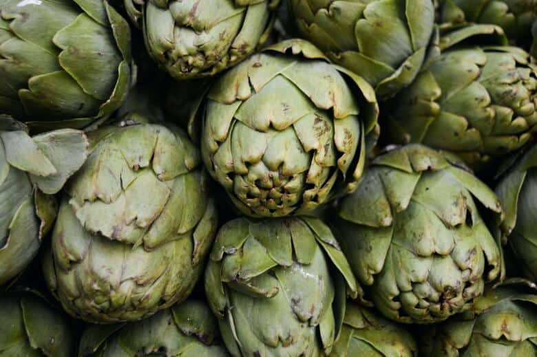 A bunch of artichokes to be smoked